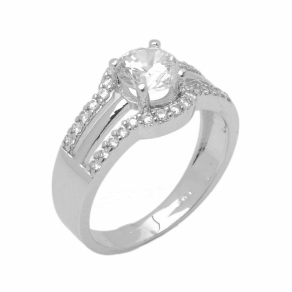 14k Solid Gold Elegant Ladies Modern Pave Round Solitaire Ring D2004v