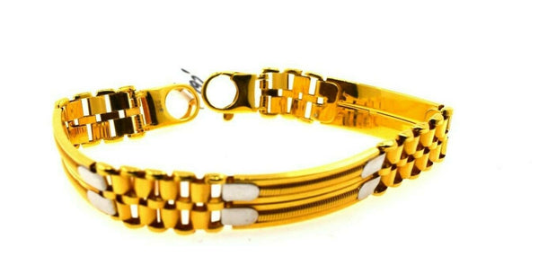 22k Solid Gold ELEGANT MENS BRACELET Modern Two Tone Design b497