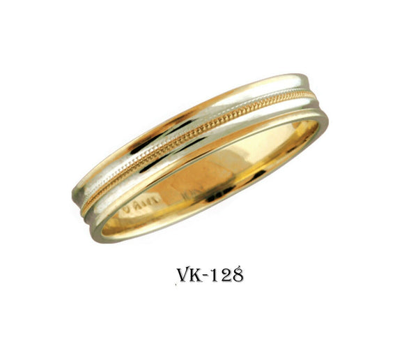 14k Solid Gold Elegant Ladies Modern Concave Finish Flat Band 4MM Ring Vk128v