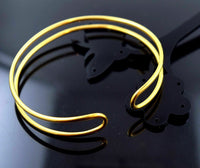 18k Solid Gold ELEGANT WOMEN BANGLE BRACELET MODERN DESIGN Size 2.5 inch B461