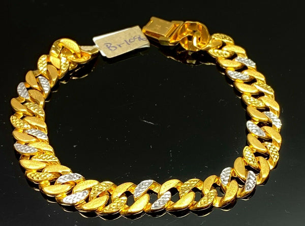 22k Bracelet Solid Gold Elegant Men Curb with Two Tone Design BR1096