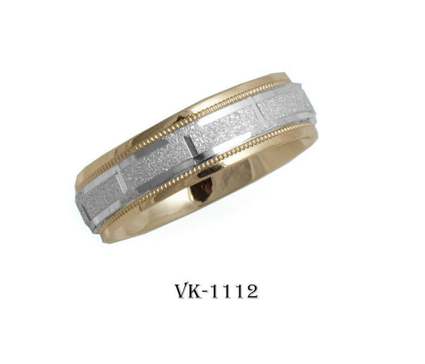 14k Solid Gold Elegant Ladies Modern Sandstone Finish Flat Band 6MM Ring VK1112v
