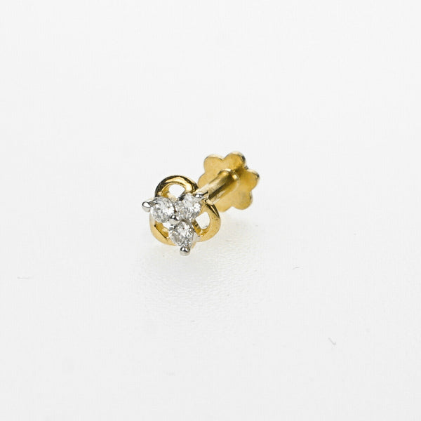 18k Stunning Modern Diamond Solid Gold Nose pin Unique Design Comfort Fit NP50