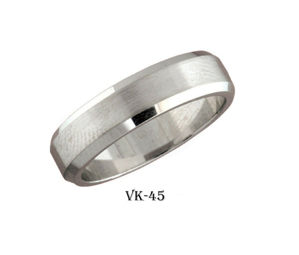 18k Solid Gold Elegant Ladies Modern Satin Finished Flat Band 6MM Ring VK45v