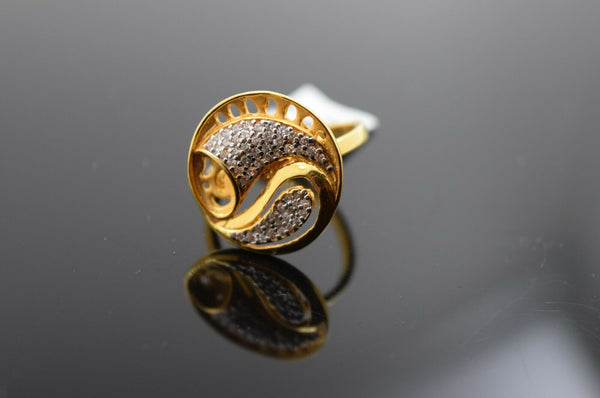 22k Ring Solid Gold Ring Ladies Jewelry Modern Round Geometric Design R819