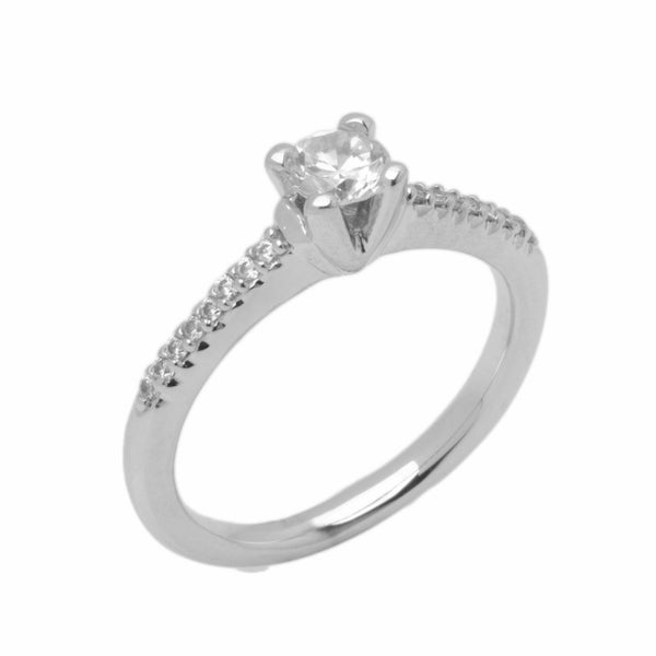18k Solid Gold Elegant Ladies Modern Prong Round Solitaire Ring D2049v