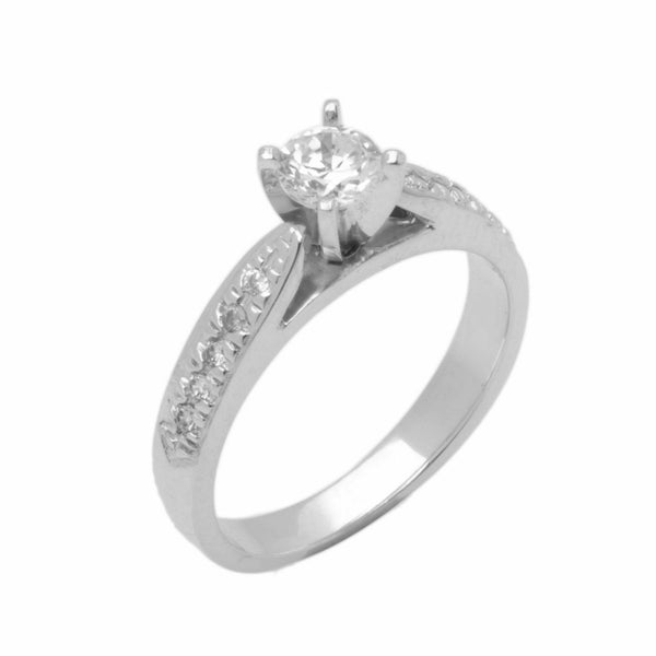 14k Solid Gold Elegant Ladies Modern Prong With Cathedral Solitaire Ring D2135v