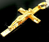 22k Pendant Solid Gold ELEGANT Simple Cross Crucifix Pendant P2201