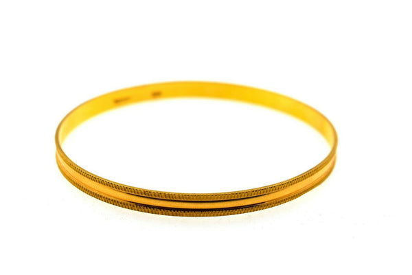 22k Solid Gold Ladies Bangle Simple Channel Cut Insert Design br79z