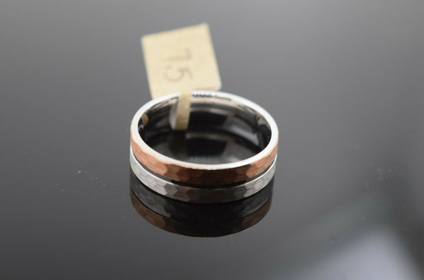 18k Ring Solid Gold Ring Two Tone Simple Rose Gold Band Design R1954