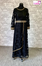 Laced back gown with emblishments on neck sleevs and waist