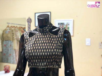 Blouse - Black Brocade Blouse