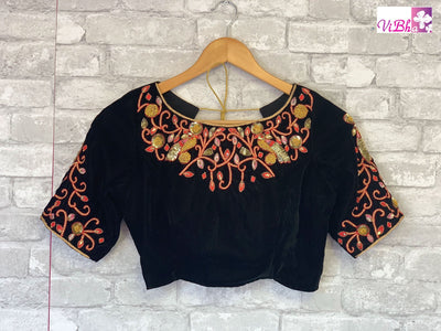 Blouse - Black Velvet Embroidered Blouse