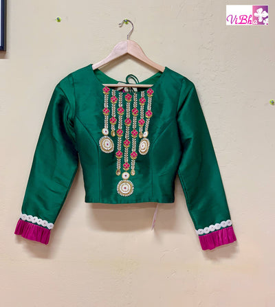 Blouse - Bottle Green And Magenta Pink Embroidered Full Sleeve Blouse