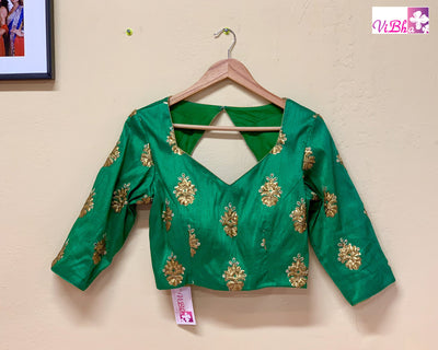 Blouse - Green Raw Silk Embroidered Blouse