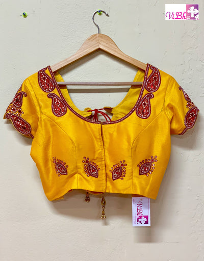 Blouse - Mango Yellow Embroidered Blouse
