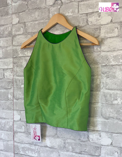 Blouse - Parrot Green Raw Silk Sleeveless Blouse