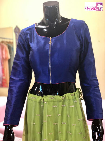 Blouse - Royal Blue Rawsilk Full Sleeve Blouse.