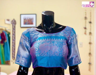 Blouse - Teal Blue And Pink Kanjivaram Silk Blouse