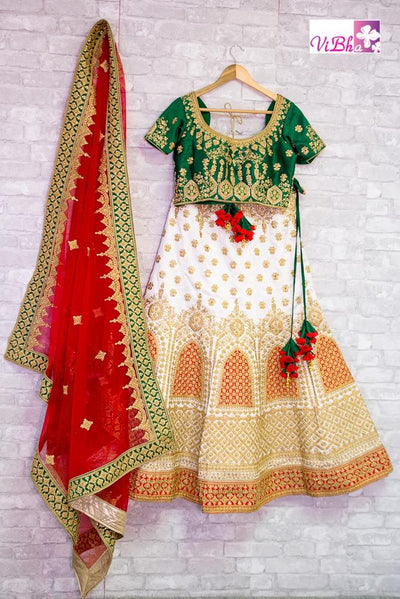 Bridal Lehengas - Bridal Lehenga Set In White, Green And Red Combination