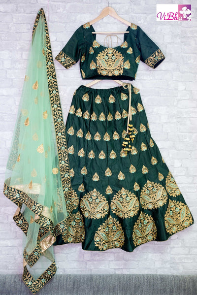 Bridal Lehengas - Dark Green Bridal Lehenga Set