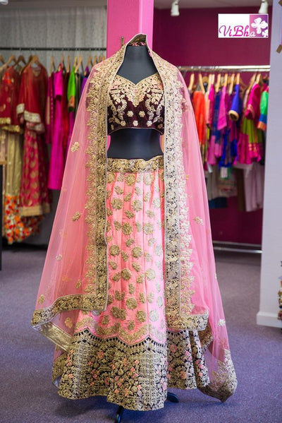 Bridal Lehengas - Peach And Dark Maroon Bridal Lehenga Set