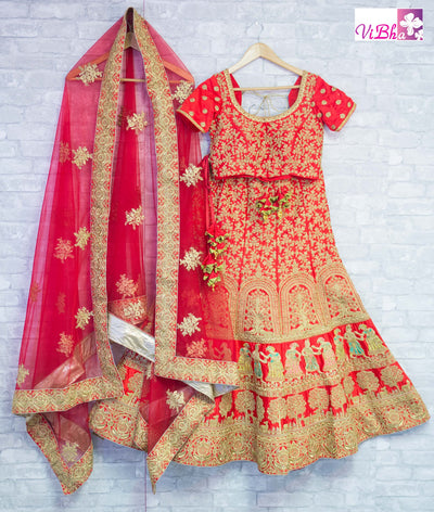 Bridal Lehengas - Red Bridal Lehenga Set In Raw Silk With Couple Motifs Hand Embroidery