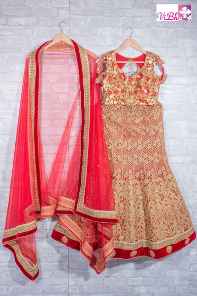 Bridal Lehengas - Red Bridal Lehenga Set In Raw Silk With Hand Embroidery