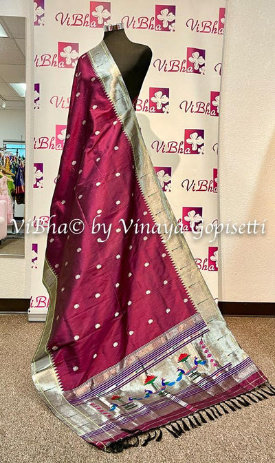 DUPATTA - Beautiful Paithani Burgundy Single Muniya Dupatta