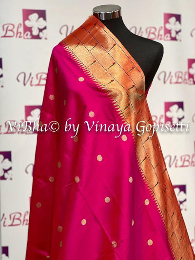 DUPATTA - Beautiful Paithani Hot Pink Triple Muniya Dupatta