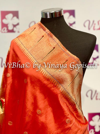 DUPATTA - Beautiful Paithani Pure Gold Zari Orange Single Muniya Dupatta