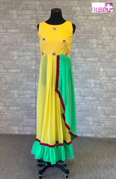 Gown - Bright Yellow Asyymetrical Layered Gown