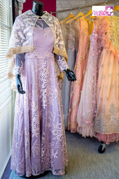 Gown - Mauve Net With Gold Cape