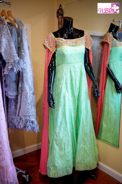 Gown - Mint Green Gown With Long Cape Sleeves