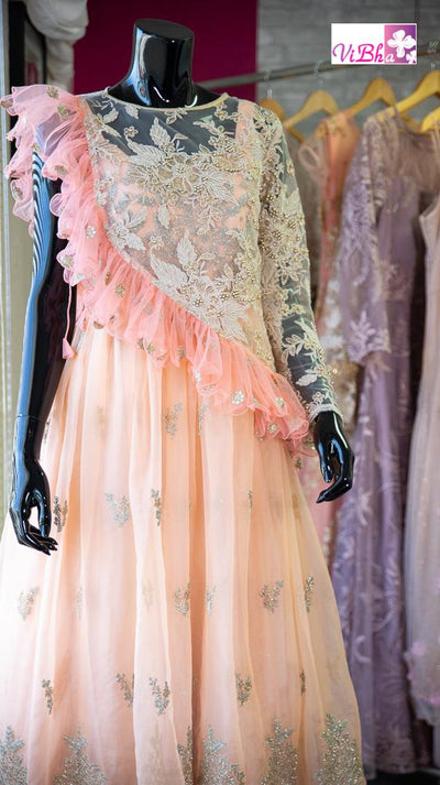 Gown - Peach Net With Frilled Cape