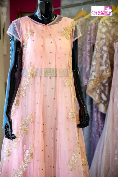 Gown - Peach Net With Long Cape And Belt