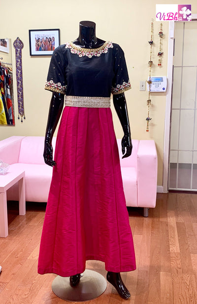 Gown - Pink And Black Embroidered Gown With Waist Belt