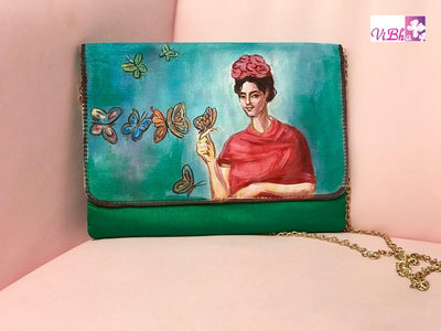 Hand Painted Clutches - Bottle Green Hand Painted Clutch
