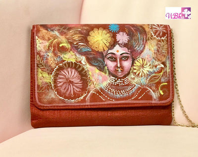 Hand Painted Clutches - Maroon Red Hand Painted Clutch