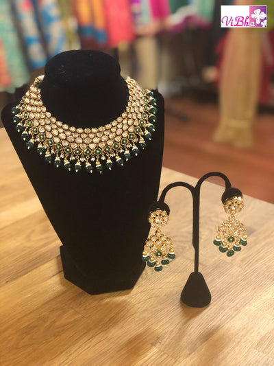 Jewelry - Kundan And Emerald Necklace Set