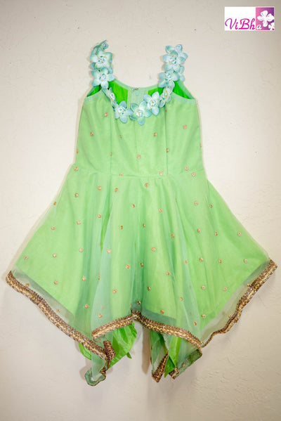Kids Wear - Green Net Asymmetrical Dress