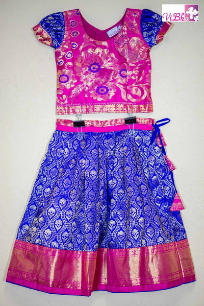 Kids Wear - Kanjivaram Silk Lehenga And Blouse