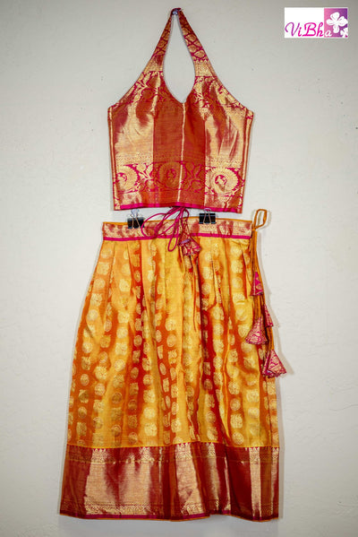 Kids Wear - Kanjivaram Silk Lehenga And Halter Neck Blouse