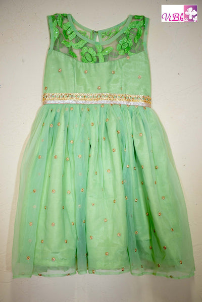 Kids Wear - Mint Green Net Sleeveless Dress / Frock