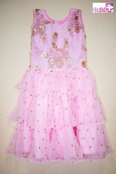 Kids Wear - Pink Net Layered Embroidered Dress/Frock