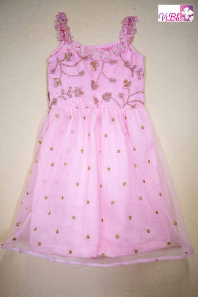Kids Wear - Pink Net Sleeveless Dress /Frock
