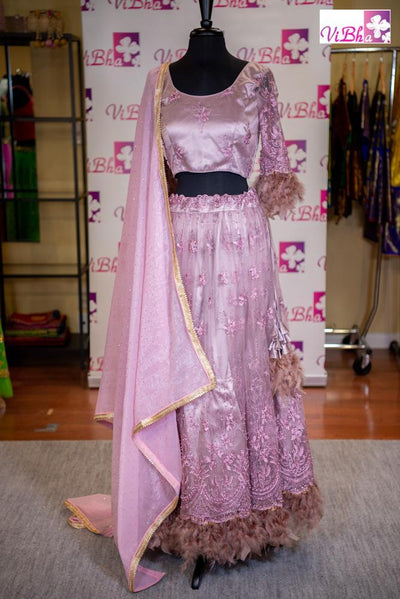 Lehenga - Mauve Feathers &  Light Pink