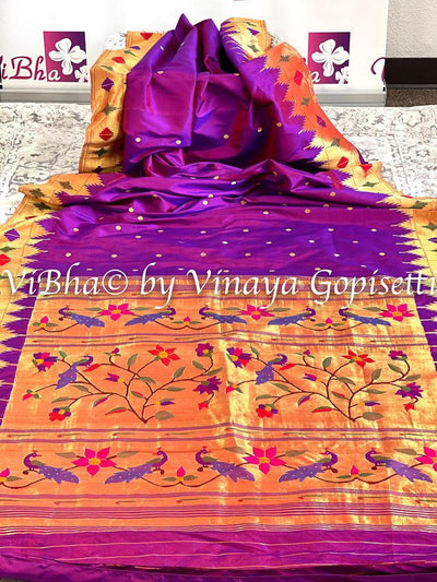 SAREE - Barav (floral) And Panja (leaves) Border Gold Zari Brocade Paithani Saree In Purple