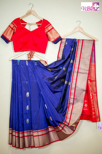 SAREE - Royal Blue And Red Combination Art Silk Saree