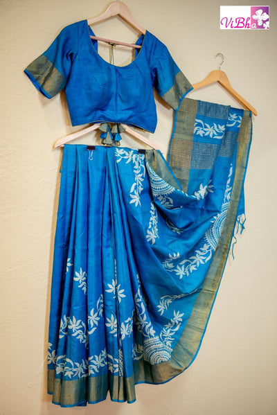 SAREE - Tussar Silk Block Print Saree